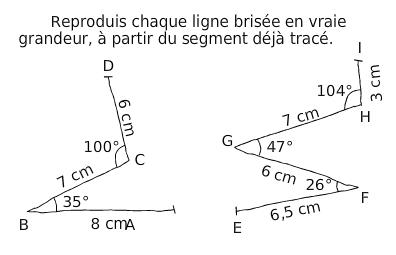 Reproduire chaque ligne brisée : exercices en 6ème.