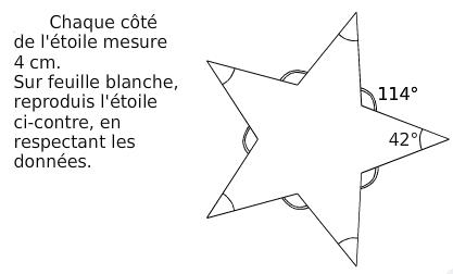 Reproduire une étoile : exercices en 6ème.