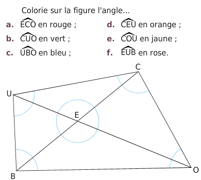 Colorier des angles sur la figure : exercices en 6ème.