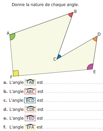 Angle obtus, aigu, plat ou nul : exercices en 6ème.