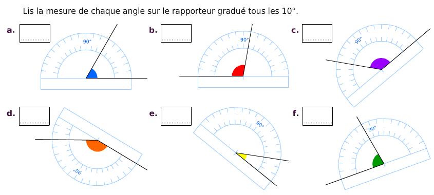 Lire la mesure de chaque angle sur le rapporteur : exercices en 6ème.