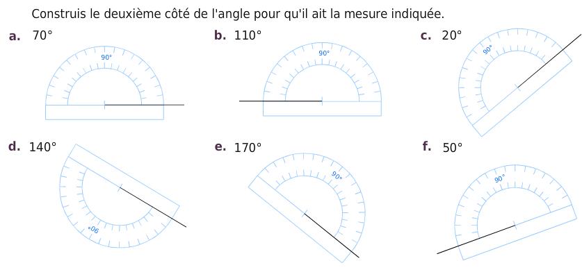 Construire le deuxième côté d'un angle : exercices en 6ème.