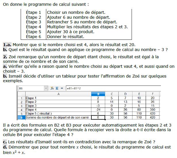Programme de calcul et tableur : exercices en 3ème.
