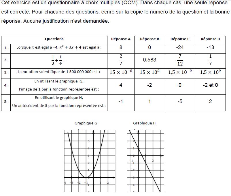 QCM du brevet : exercices en 3ème.
