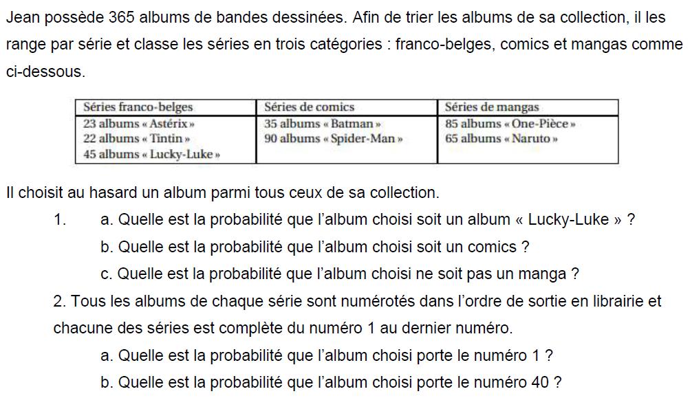 Albums de bandes dessinées et probabilités : exercices en 3ème.