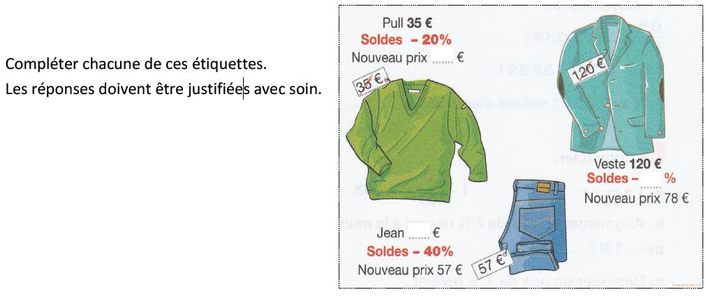 Des étiquettes de prix et pourcentages : exercices en 3ème.