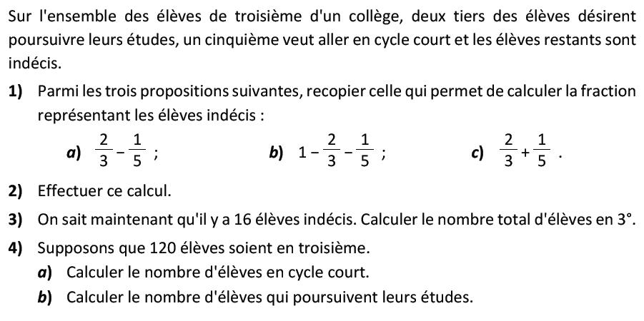 Problème sur les fractions : exercices en 3ème.