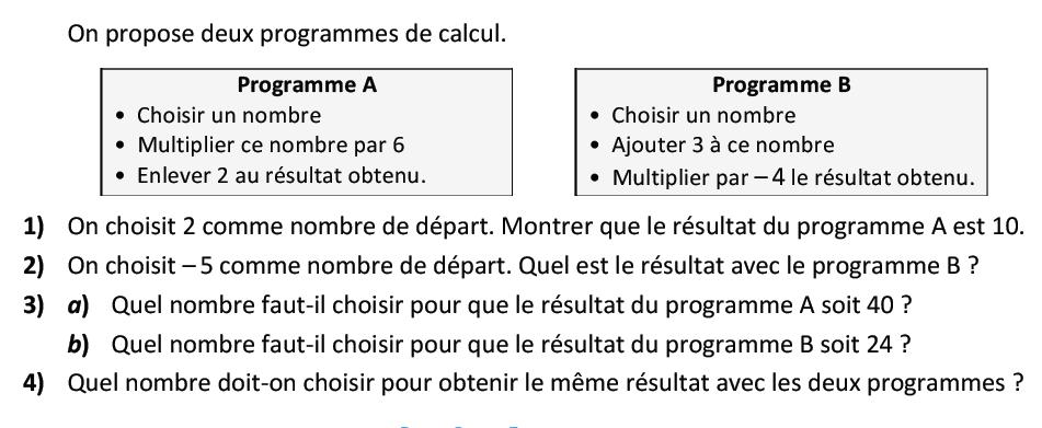 Deux programmes de calcul : exercices en 3ème.