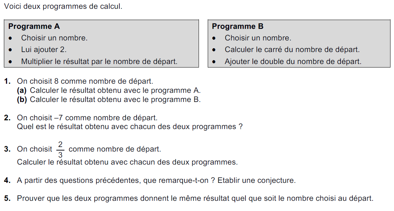 Des programmes de calcul : exercices en 3ème.