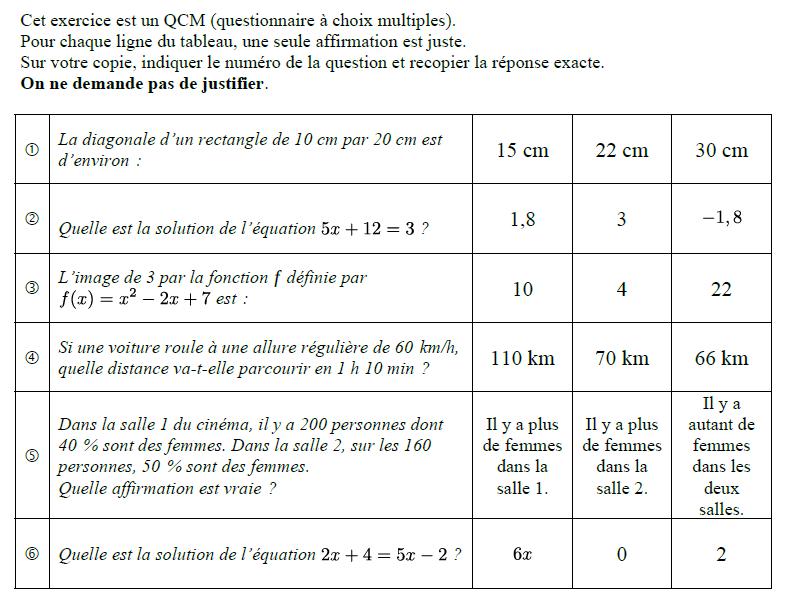 QCM de mathématiques : exercices en 3ème.