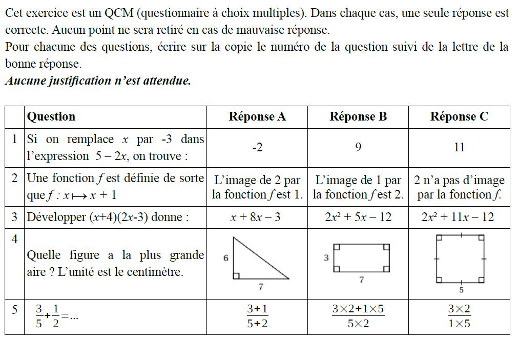 Questionnaire à choix multiples : exercices en 3ème.