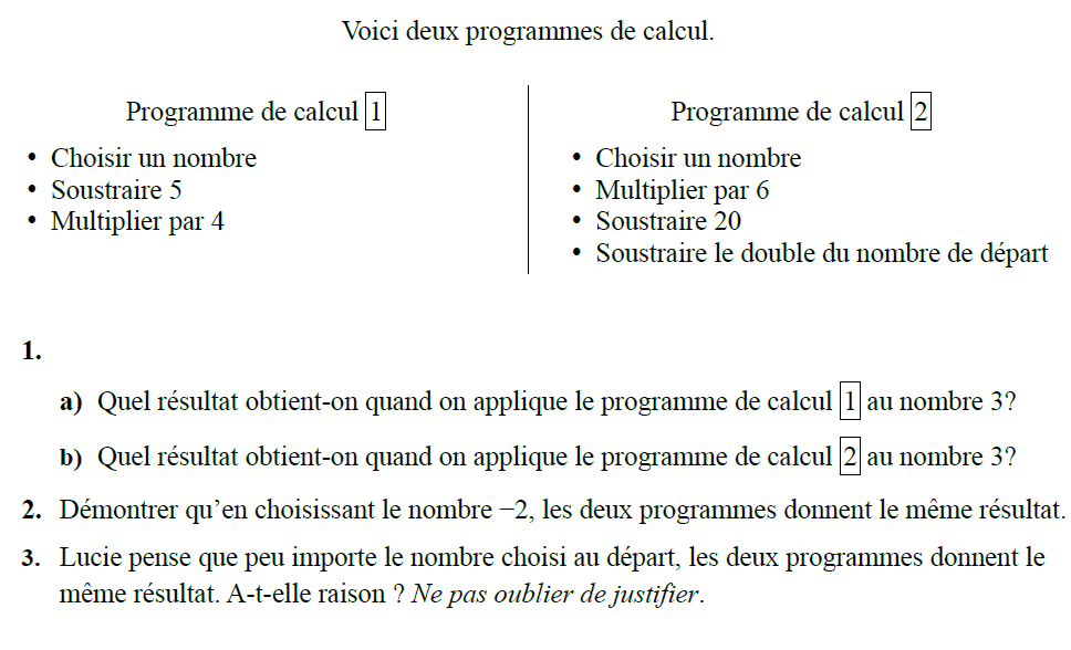 Deux programmes à étudier : exercices en 3ème.