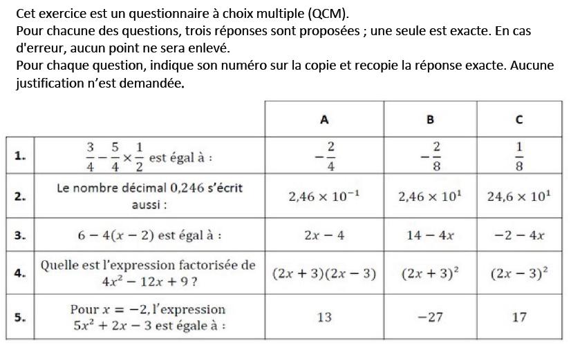 QCM et calculs : exercices en 3ème.