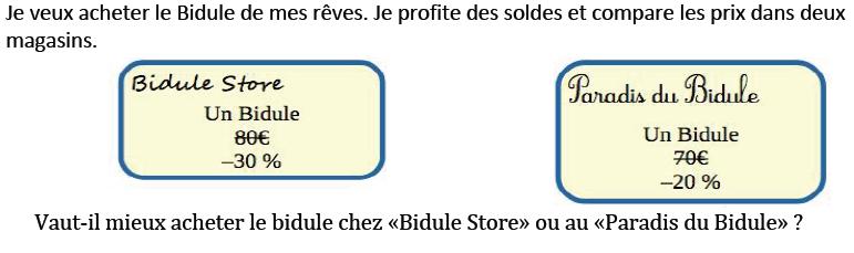 Bidule Store et les soldes : exercices en 3ème.