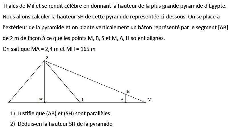 La pyramide Khéops : exercices en 3ème.