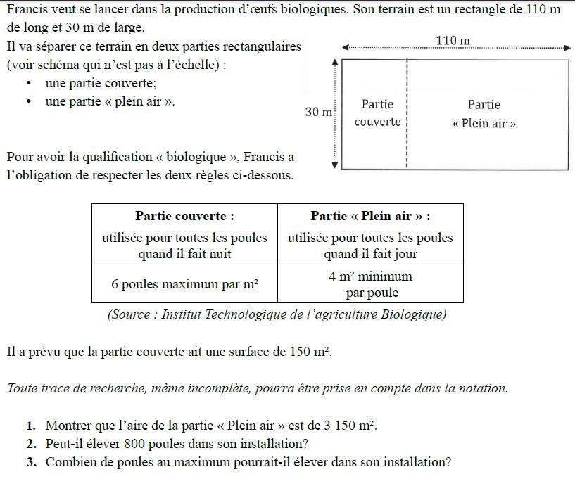 Production d'oeufs biologiques : exercices en 3ème.