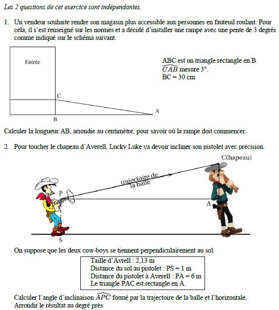 Problèmes de trigonométrie : exercices en 3ème.