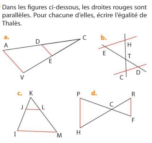 Les égalités des rapports de Thalès : exercices en 3ème.