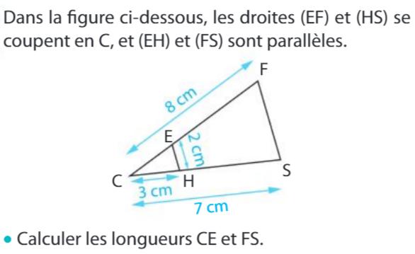 Déterminer des longueur et théorème de Thalès : exercices en 3ème.