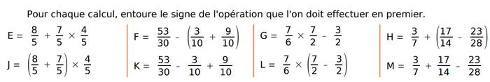 Calculs et fractions : exercices en 4ème.