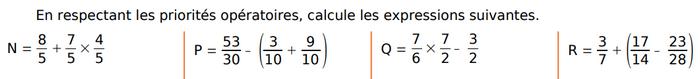 Calculer  les expressions avec des fractions : exercices en 4ème.