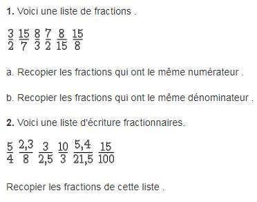 Fractions et écriture fractionnaire. : exercices en 6ème.