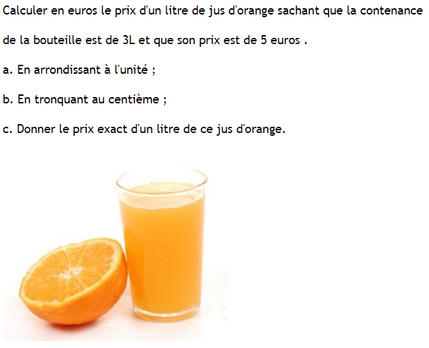 Fractions et jus d'orange : exercices en 6ème.