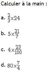 fraction et calculs à la main. : exercices en 6ème.