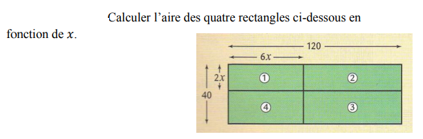 L'aire de quatre rectangles : exercices en 4ème.