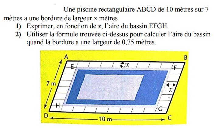 Une piscine rectangulaire : exercices en 4ème.
