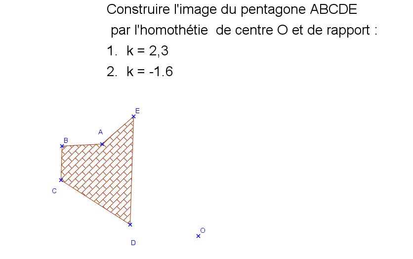Homothétie d'un pentagone : exercices en 3ème.