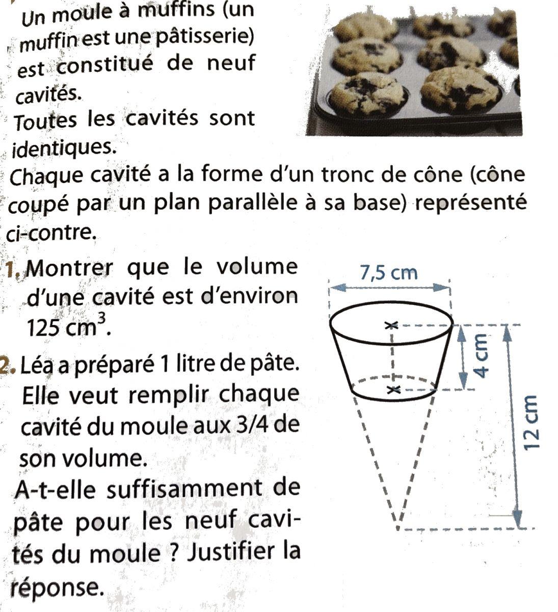 Un moule à muffins et ses cavités : exercices en 3ème.