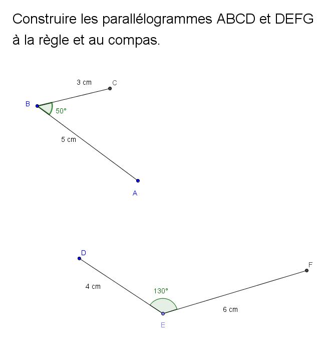 Constructions de parallélogramme avec le compas : exercices en 5ème.