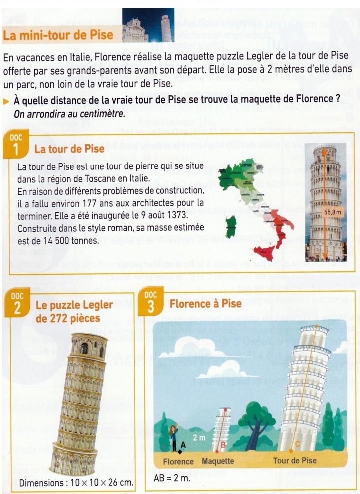 La tour de Pise en Italie : exercices en 3ème.