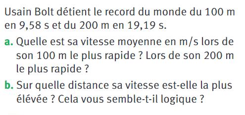 Usain Bolt et le record du monde : exercices en 4ème.