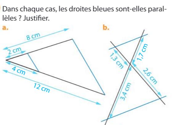 Les droites bleues sont-elles parallèles ? : exercices en 3ème.