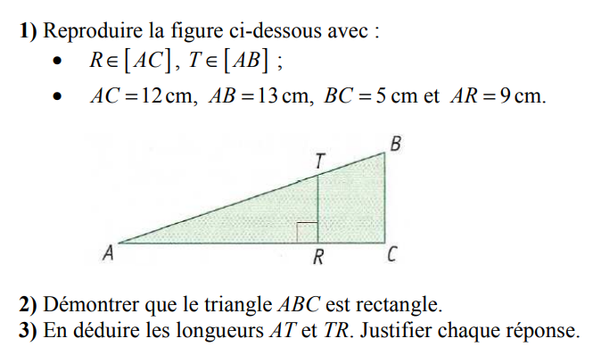 Thalès et Pythagore : exercices en 3ème.