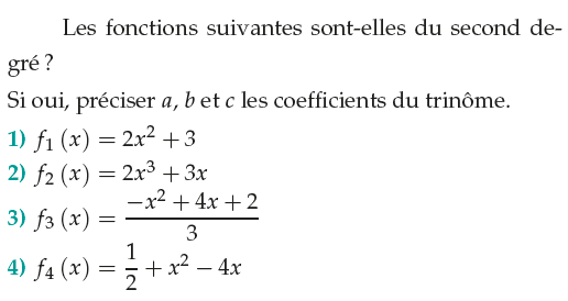 Fonctions du second degré : exercices en 1ère S.