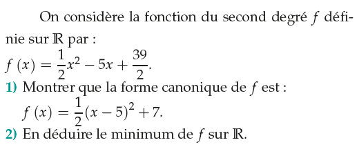 Minimum d'une fonction : exercices en 1ère S.
