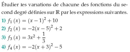 Variations d'une fonction du second degré : exercices en 1ère S.