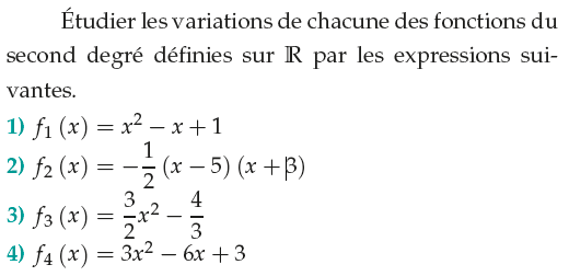 Variations et fonctions du second degré : exercices en 1ère S.