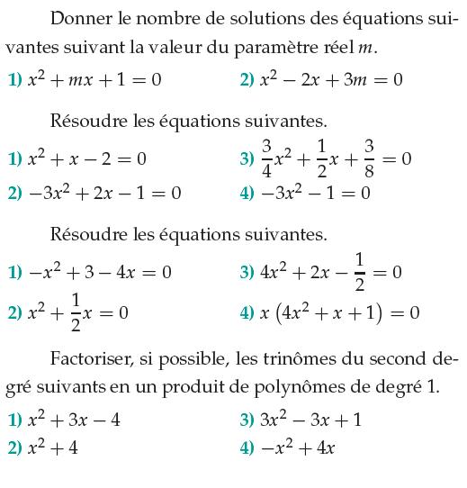 Second Degre Et Polynomes Exercices De Maths 1ere S Premiere S A Imprimer Et Telecharger En Pdf