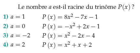 Racine d'un polynôme : exercices en 1ère S.