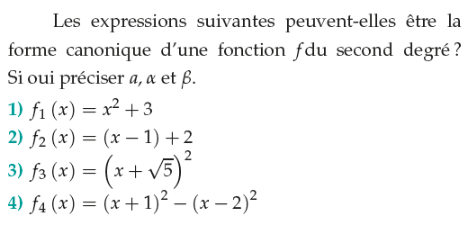 Forme canonique d'une fonction du second degré : exercices en 1ère S.