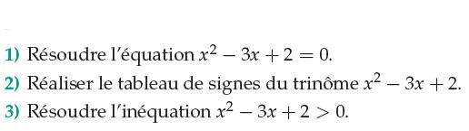 Résoudre des équations du second degré : exercices en 1ère S.