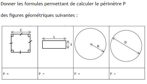 Formules des périmètres des figures. : exercices en 6ème.