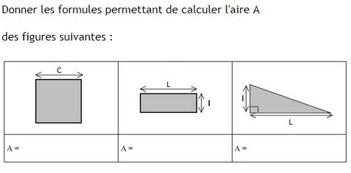 Formules des aires d'une figure géométrique . : exercices en 6ème.