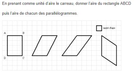 Aire de parallélogramme : exercices en 5ème.