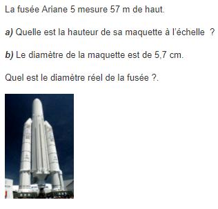 Diamètre de la fusée ariane : exercices en 5ème.