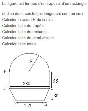 Calcul de l'aire d'une figure : exercices en 5ème.